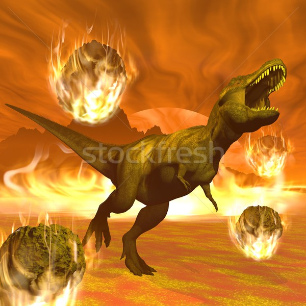 Tyrannosaurus dinosaur exctinction - 3D render Stock photo © Elenarts