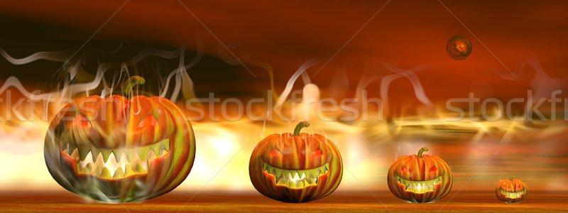 Halloween yangın 3d render dört kabak Stok fotoğraf © Elenarts