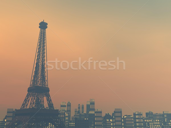 Pollution in Paris, France - 3D render Stock photo © Elenarts