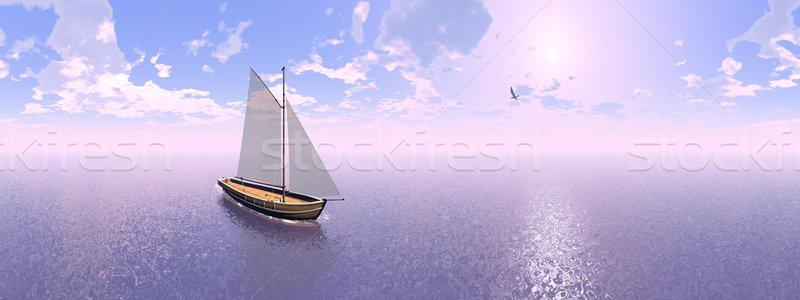 Sailing boat, 360 degrees effect - 3D render Stock photo © Elenarts