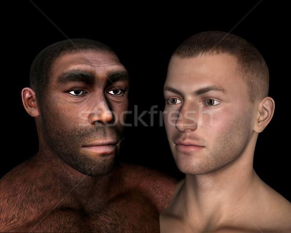 Comparación 3d negro hombre retrato historia Foto stock © Elenarts