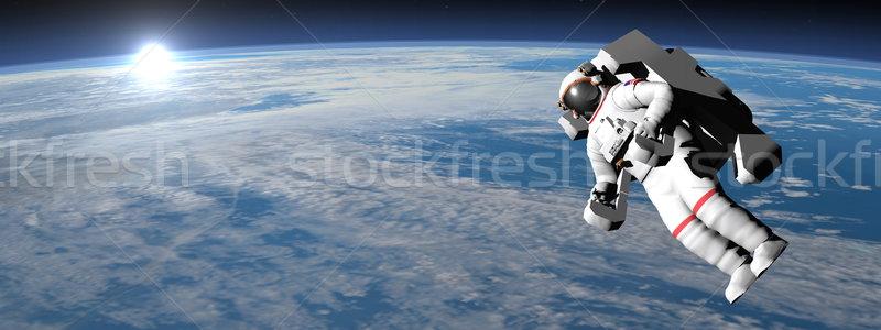 Astronaut kosmonaut vliegen aarde 3d render zon Stockfoto © Elenarts