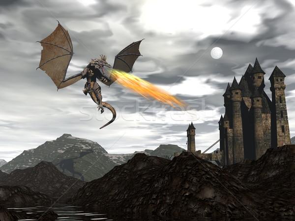 Ejderha manzara 3d render yangın eski kale Stok fotoğraf © Elenarts