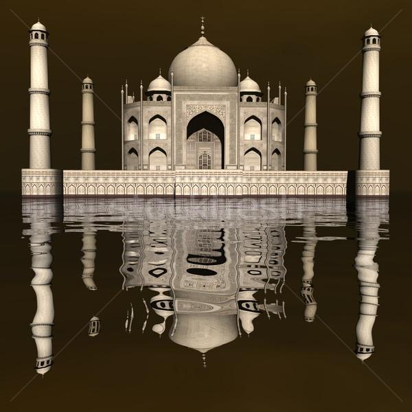 タージマハル 霊廟 インド 3dのレンダリング 有名な ミラー ストックフォト © Elenarts