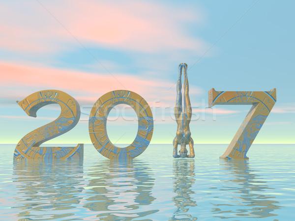Zen happy new year 2017 - 3D render Stock photo © Elenarts