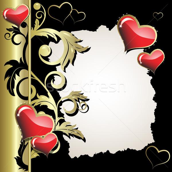 Kalp kalpler altın şube siyah kâğıt Stok fotoğraf © ElenaShow