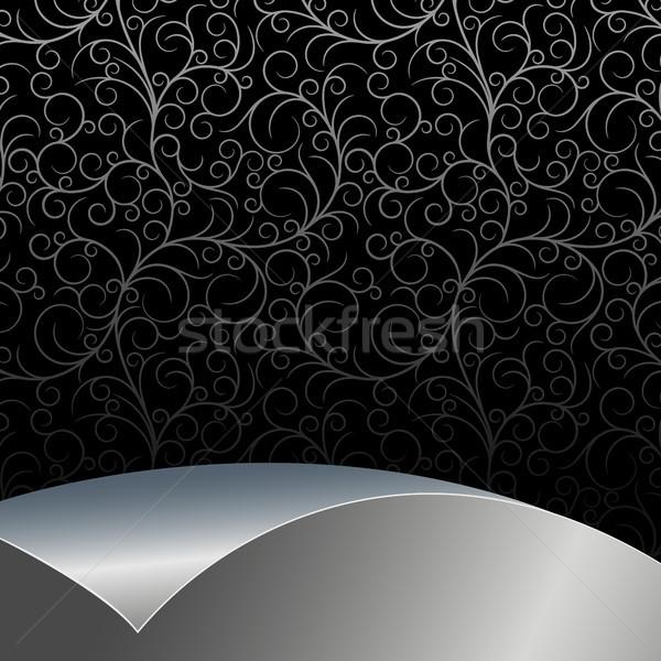 Nero argento fiori foglie foglio texture Foto d'archivio © ElenaShow