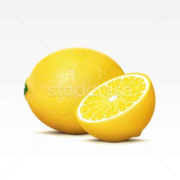 Citrons deux blanche alimentaire tropicales dessert Photo stock © ElenaShow