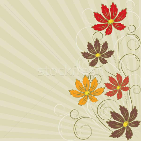 Bloemen abstract oranje Rood bruin goud Stockfoto © ElenaShow