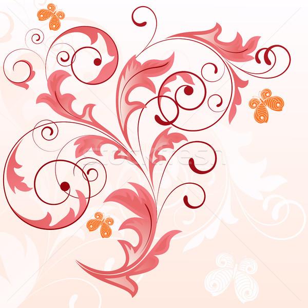 été rose usine papillons papillon design Photo stock © ElenaShow