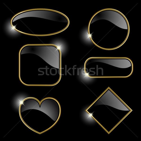 Ayarlamak altın kareler altın siyah dosya Stok fotoğraf © ElenaShow