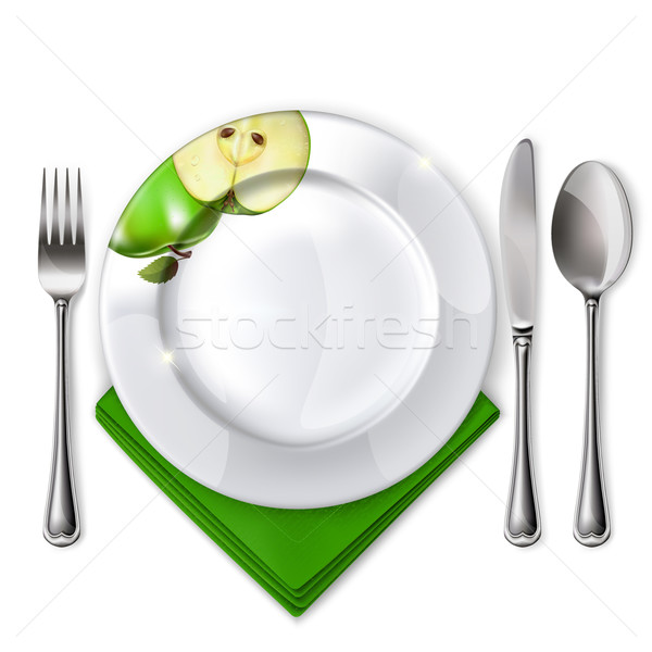 Plate with spoon, knife and fork Stock photo © ElenaShow