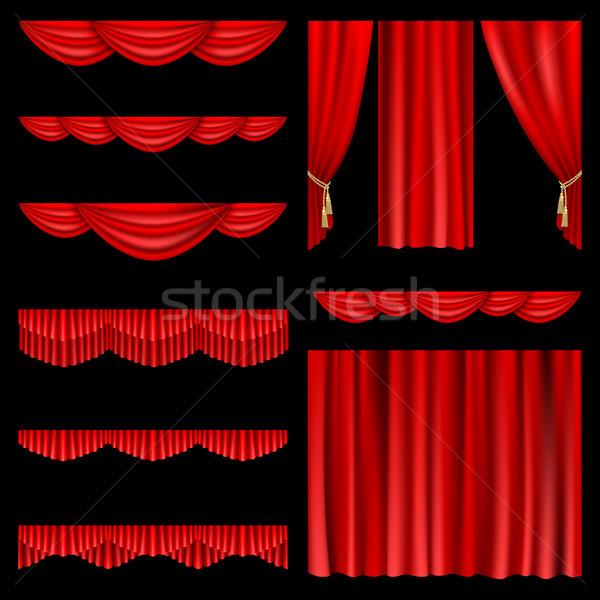 Kırmızı perde ayarlamak tiyatro sahne Stok fotoğraf © ElenaShow