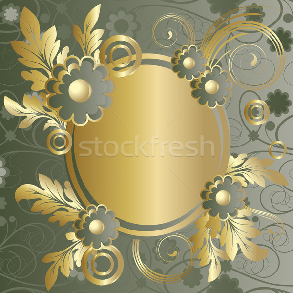 Oval soyut yeşil çiçekler altın Stok fotoğraf © ElenaShow