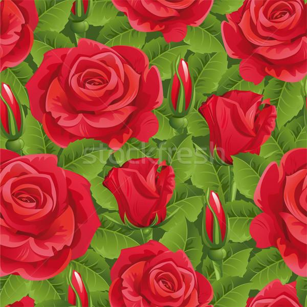 シームレス バラ 赤いバラ 緑 花 春 ストックフォト © ElenaShow