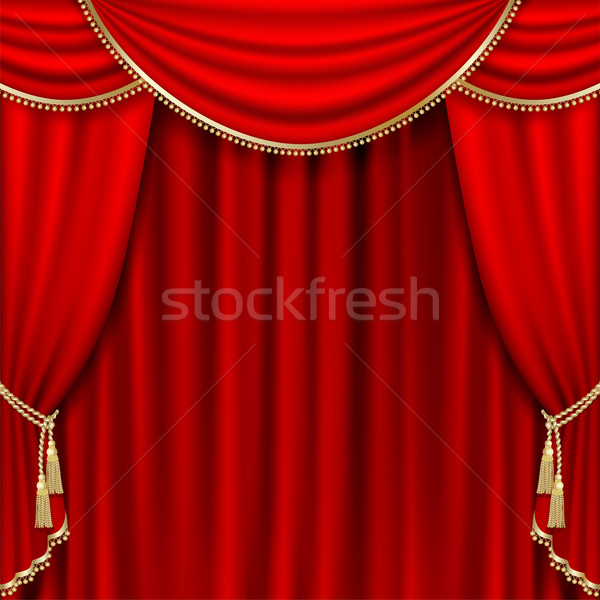 Théâtre stade rouge rideau masque Photo stock © ElenaShow