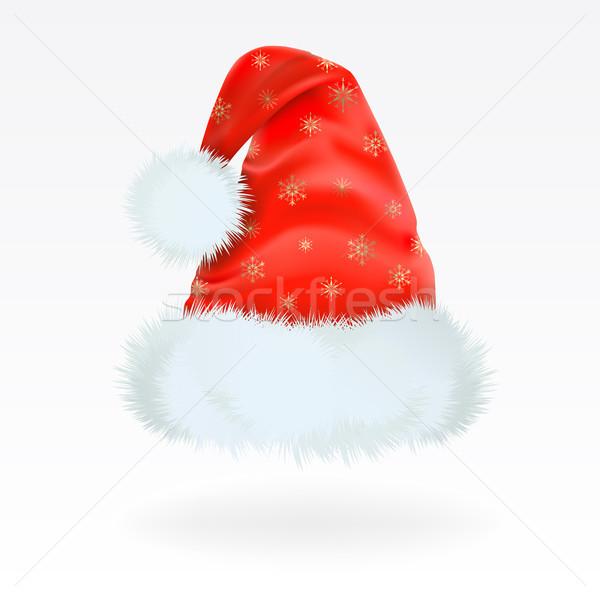 Noel baba kapak kırmızı şapka model Stok fotoğraf © ElenaShow