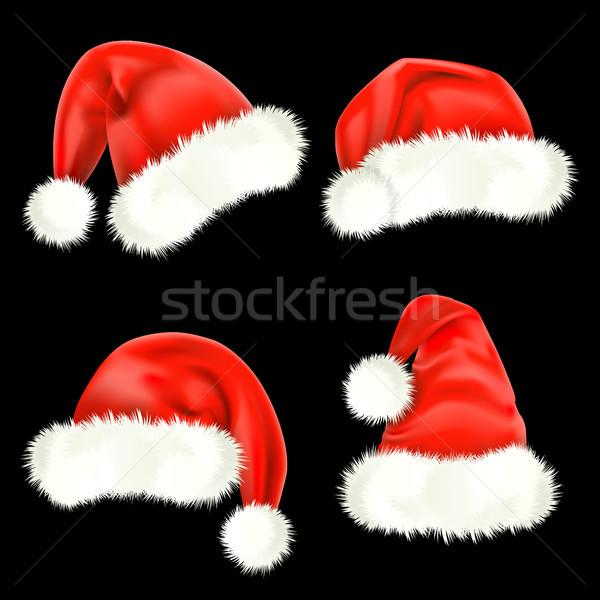Noel baba kırmızı şapka ipek kutlama Stok fotoğraf © ElenaShow