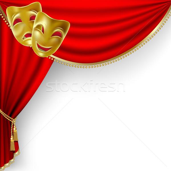 Tiyatro sahne kırmızı perde maskeler Stok fotoğraf © ElenaShow