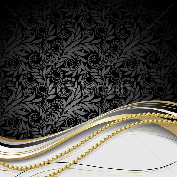 Preto ouro flores folhas corda textura Foto stock © ElenaShow