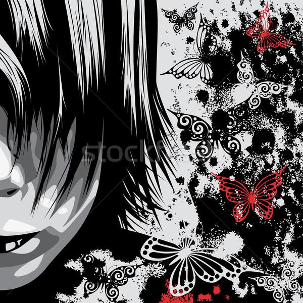 Homem cara retrato clip-art ilustração metade Foto stock © ElenaShow