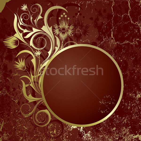 Brun cadre blanche résumé branche fleurs Photo stock © ElenaShow