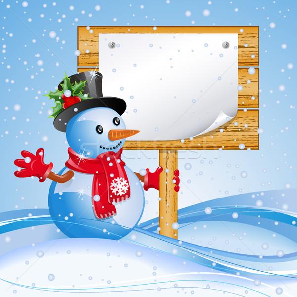 Billboard sneeuwpop christmas Blauw ontwerp frame Stockfoto © ElenaShow