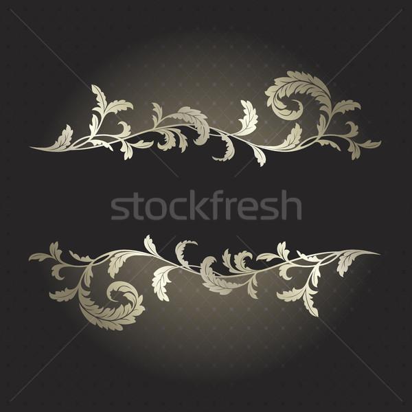 Noir argent plantes texture feuille cadre Photo stock © ElenaShow