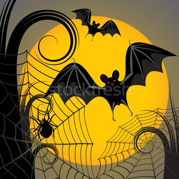 Halloween frame giallo luna ragnatela web Foto d'archivio © ElenaShow