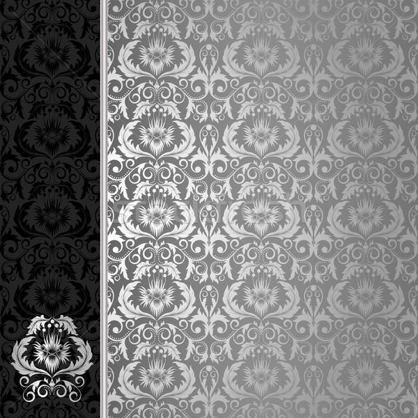 Noir argent fleurs laisse texture feuille Photo stock © ElenaShow