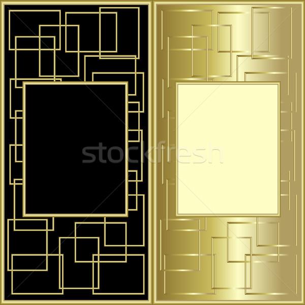 Design nero oro carta sfondo frame Foto d'archivio © ElenaShow