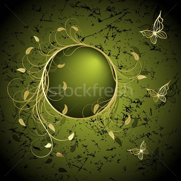 Quadro elegância ouro planta borboletas verde Foto stock © ElenaShow