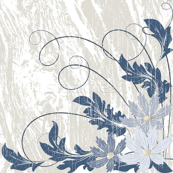 Grunge fleurs bleu chaotique laisse résumé Photo stock © ElenaShow