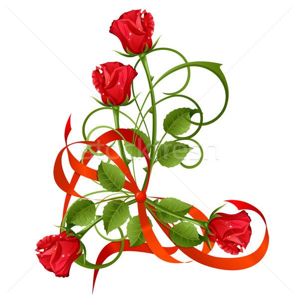 Güller buket kırmızı gül yay çiçek gül Stok fotoğraf © ElenaShow
