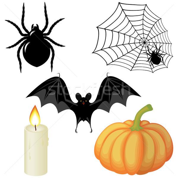 Stok fotoğraf: Halloween · elemanları · örümcek · ağı · mum · kabak · bat