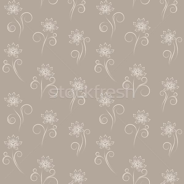 Sem costura bege flores abstrato lata Foto stock © ElenaShow