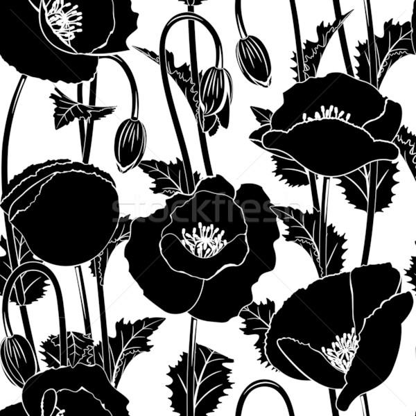シームレス ポピー 黒 コンピュータ 花 背景 ストックフォト © ElenaShow