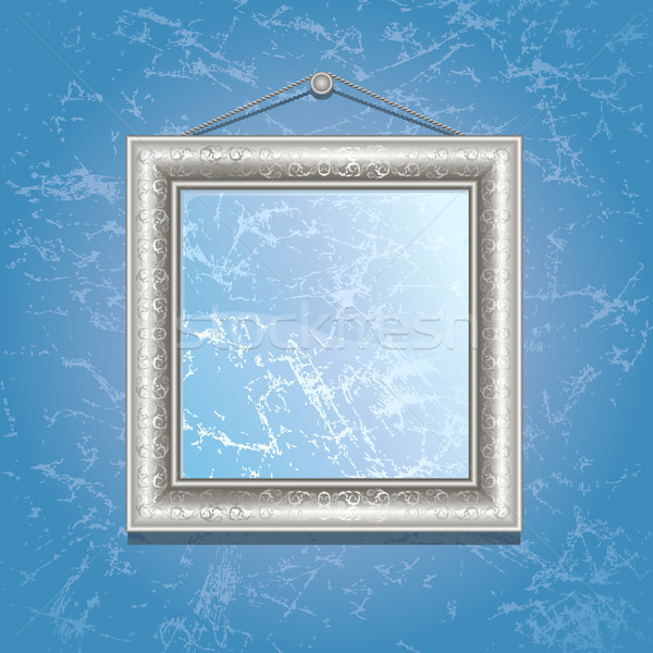 Frame argento muro blu wallpaper design Foto d'archivio © ElenaShow