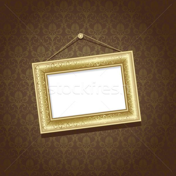 Rahmen Gold Wand Braun Tapete Abstrakten Vektor Grafiken