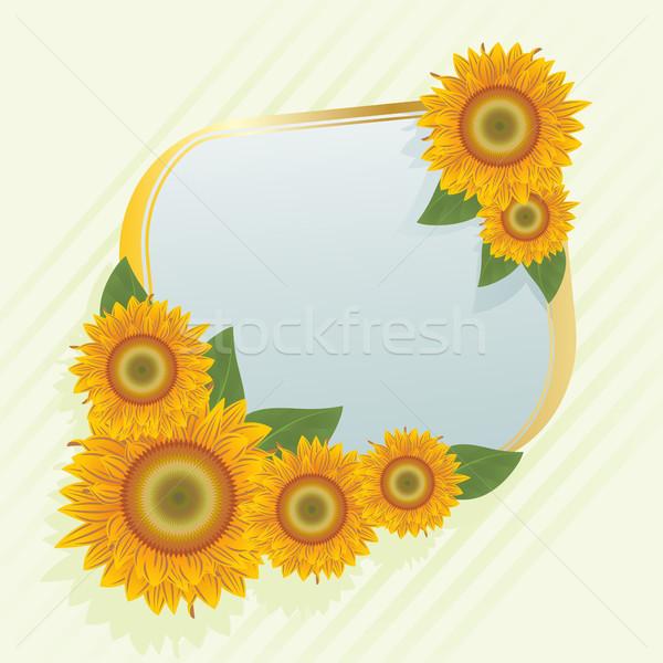 Foto stock: Ouro · quadro · abstrato · girassóis · laranja · verde