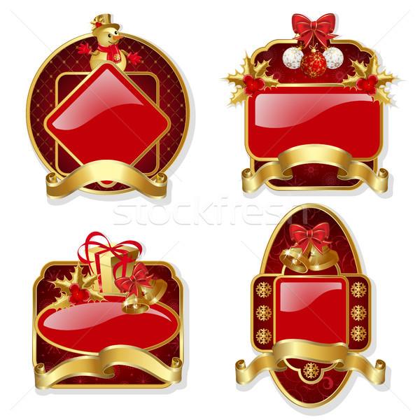セット 赤 クリスマス ラベル 金 フレーム ストックフォト © ElenaShow