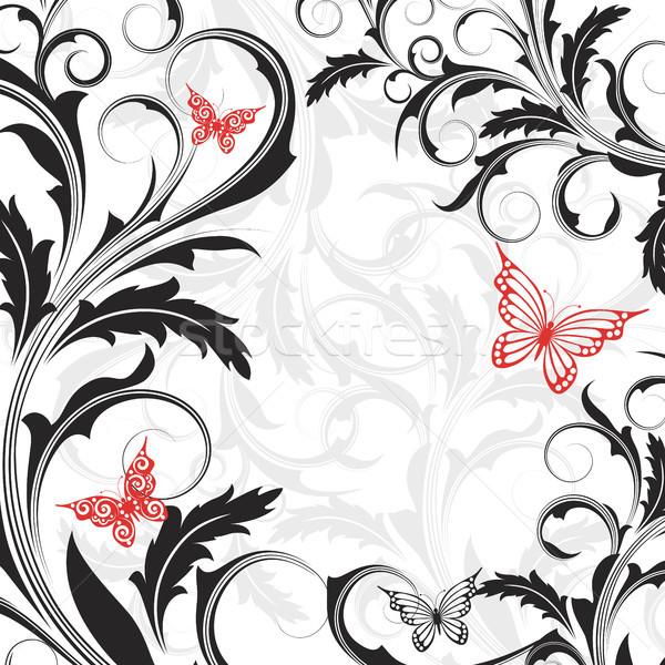 ストックフォト: 花 · 蝶 · 白 · 抽象的な · 黒 · 花