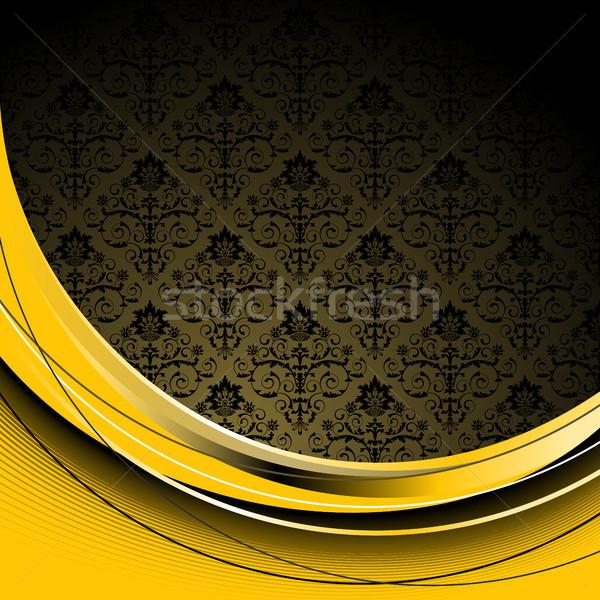 Nero giallo fiori foglie onda texture Foto d'archivio © ElenaShow