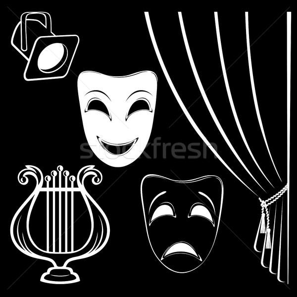 Gyűjtemény színpadi betűk fekete felirat csoport Stock fotó © ElenaShow