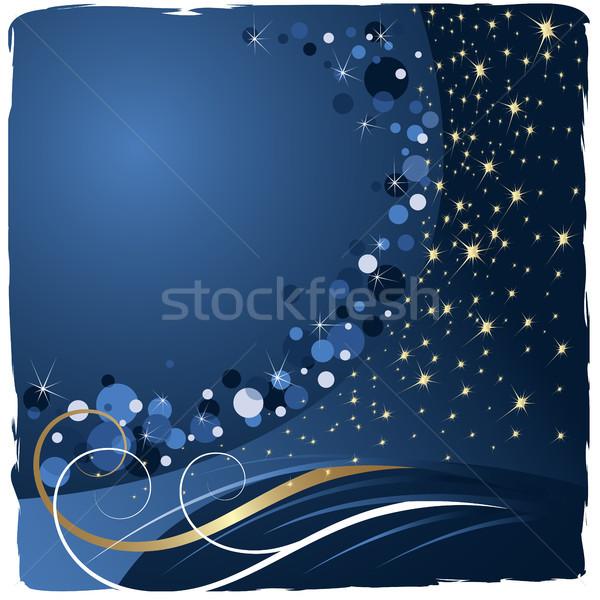 Noel mavi parlak soyut çerçeve altın Stok fotoğraf © ElenaShow