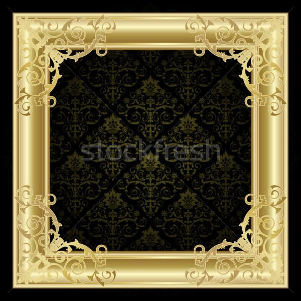 Frame oro nero abstract pattern banner Foto d'archivio © ElenaShow