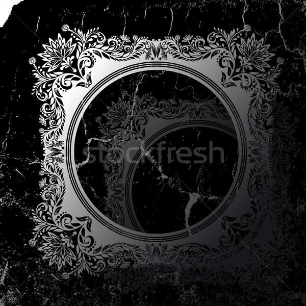 Retro çerçeve siyah grunge sanat model Stok fotoğraf © ElenaShow
