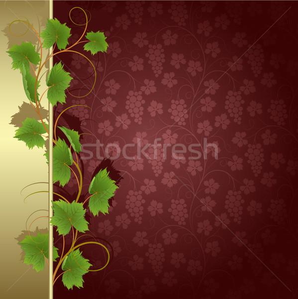Vid textura hoja marco arte verde Foto stock © ElenaShow