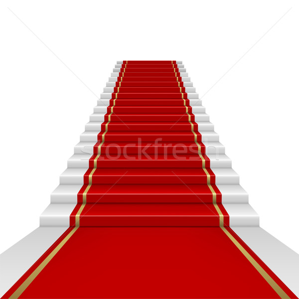 Stok fotoğraf: Kırmızı · halı · merdiven · maske · sahne · beyaz
