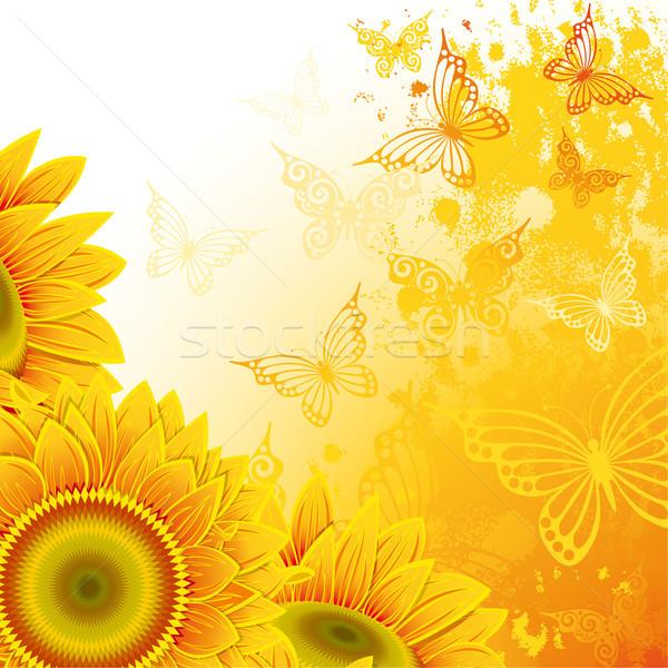 Girassóis laranja flor fundo arte verão Foto stock © ElenaShow